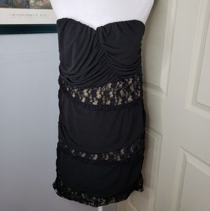 Torrid Strapless Dress size 3 Black Lace Nude